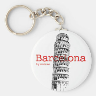 Barcelona-Pisa by mstake Basic Round Button Key Ring