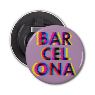 Barcelona Psychedelic Glitch Customizable Color Bottle Opener