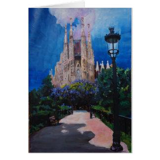 Barcelona Sagrada Familia with Park and Lantern Greeting Card