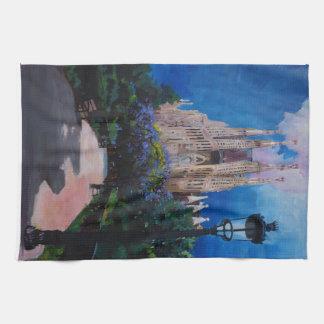 Barcelona Sagrada Familia with Park and Lantern Tea Towel