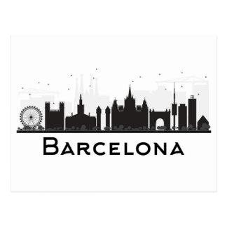 Barcelona, Spain | Black & White City Skyline Postcard