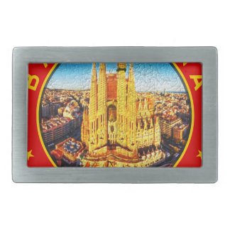 Barcelona, Spain, circle, red Belt Buckles