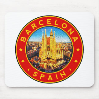 Barcelona, Spain, circle, red Mouse Pad