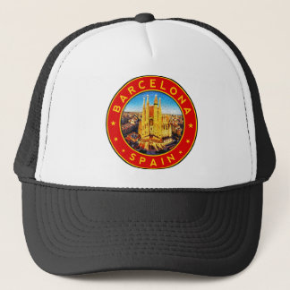 Barcelona, Spain, circle, red Trucker Hat