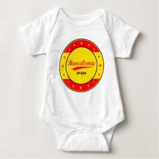 Barcelona, Spain, circle with flag colors Baby Bodysuit
