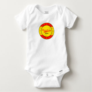 Barcelona, Spain, circle with flag colors Baby Onesie
