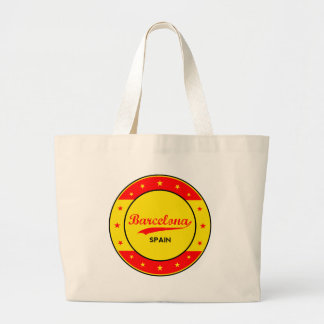 Barcelona, Spain, circle with flag colors Large Tote Bag