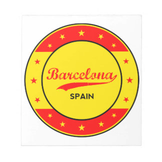 Barcelona, Spain, circle with flag colors Notepad