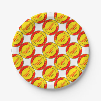 Barcelona, Spain, circle with flag colors Paper Plate