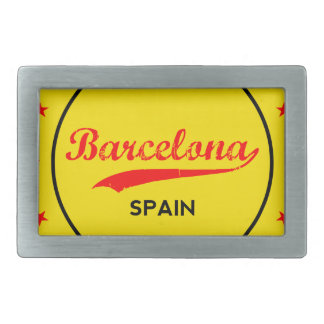 Barcelona, Spain, circle with flag colors Rectangular Belt Buckles