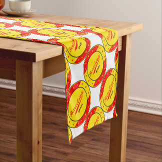 Barcelona, Spain, circle with flag colors Short Table Runner
