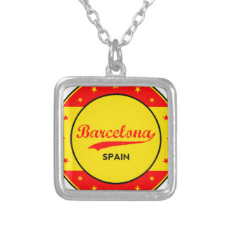 Barcelona, Spain, circle with flag colors Silver Plated Necklace