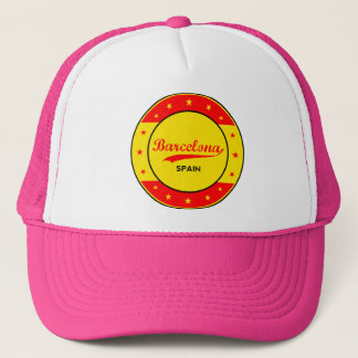 Barcelona, Spain, circle with flag colors Trucker Hat