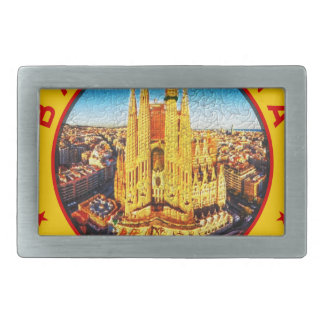 Barcelona, Spain, circle, yellow Belt Buckle