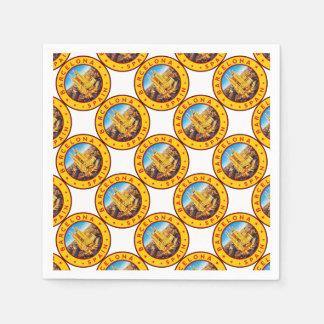 Barcelona, Spain, circle, yellow Disposable Napkins