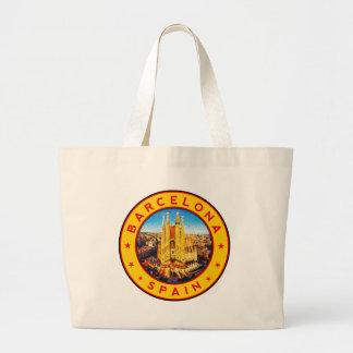Barcelona, Spain, circle, yellow Large Tote Bag