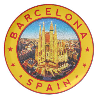 Barcelona, Spain, circle, yellow Plate