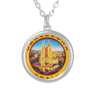 Barcelona, Spain, circle, yellow Silver Plated Necklace