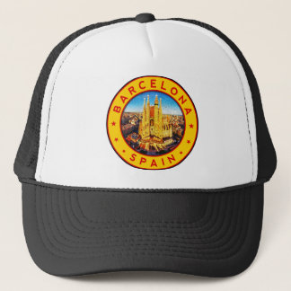 Barcelona, Spain, circle, yellow Trucker Hat