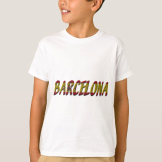 Barcelona Spain Flag Colors Typography T-Shirt