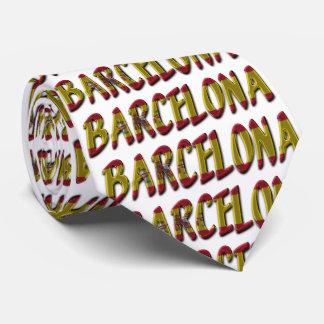 Barcelona Spain Flag Colors Typography Tie