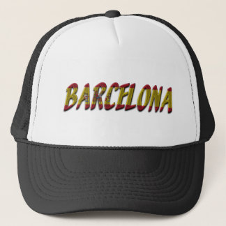 Barcelona Spain Flag Colors Typography Trucker Hat