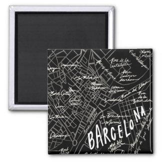 Barcelona Spain Map Magnet - Black Vintage Style
