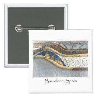 Barcelona Spain Parc Guell Tourist Destination 15 Cm Square Badge