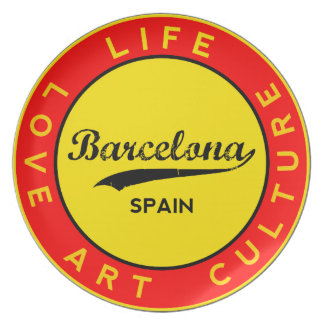 Barcelona, Spain, red circle, art Plate