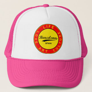 Barcelona, Spain, red circle, art Trucker Hat