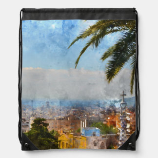 Barcelona Spain Skyline Drawstring Bag