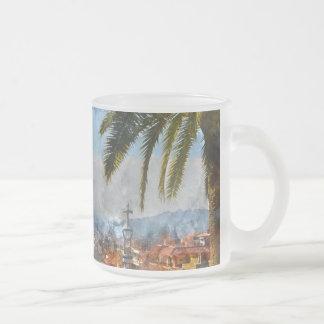 Barcelona Spain Skyline Frosted Glass Coffee Mug