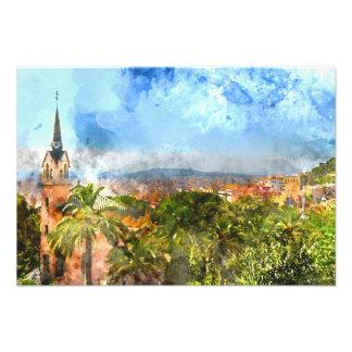 Barcelona Spain Skyline Photo Print