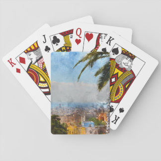 Barcelona Spain Skyline Playing Cards