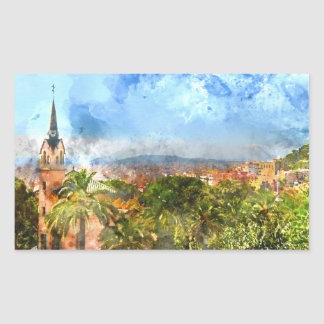 Barcelona Spain Skyline Rectangular Sticker