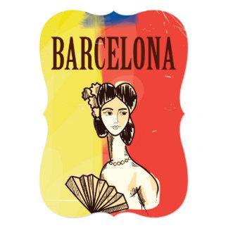 Barcelona Spain vintage travel poster 13 Cm X 18 Cm Invitation Card