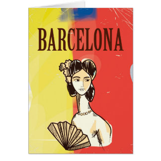 Barcelona Spain vintage travel poster Card