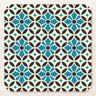 Barcelona Spanish tile petals with star Square Paper Coaster