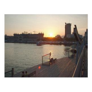 Barcelona sunset postcard