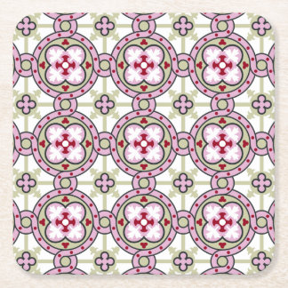 Barcelona tile flower with pink ribbons square paper coaster