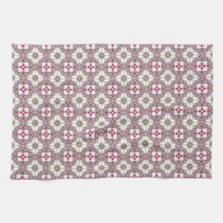 Barcelona tile flower with pink ribbons tea towel