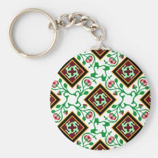Barcelona tile red floral pattern key ring