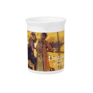 Barcelona Vintage Travel Poster Beverage Pitchers