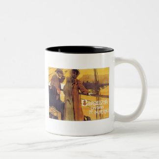 Barcelona Vintage Travel Poster Two-Tone Mug