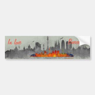 Barcelona watercolor Skyline in love Bumper Sticker