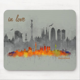 Barcelona watercolor Skyline in love Mouse Pad