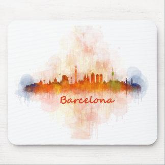 Barcelona watercolor Skyline v04 Mouse Pad