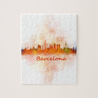 Barcelona watercolor Skyline v04 Puzzle