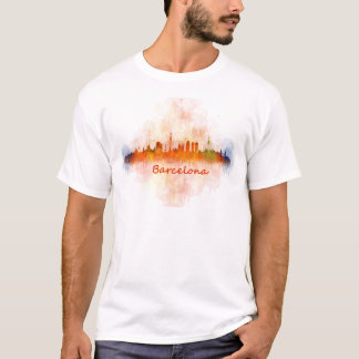 Barcelona watercolor Skyline v04 T-Shirt