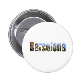 Barcelona with tourist attractions in letters 6 cm round badge